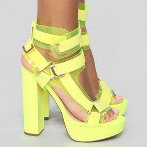 🔥HOT ITEM🔥Mystery  Neon Yellow Heeled Sandal